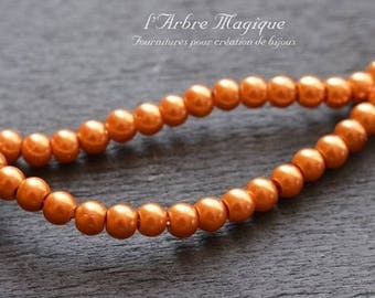 ORANGE 4 mm sold per 20 glass pearl beads