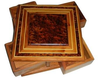 New Thuya Burl Box With Four Drawers