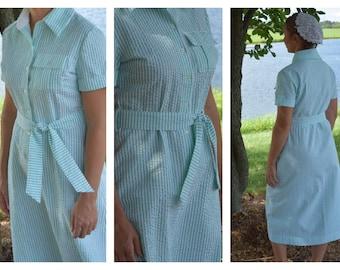 Modest Green and White Pinstripe Shirt Collar Dress