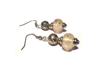 Retro earrings, pale pink pearls Golden patterns