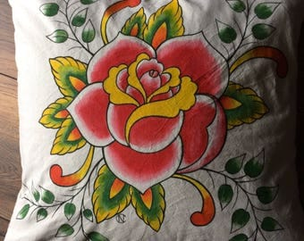 Old School Tattoo Rose cushion cover