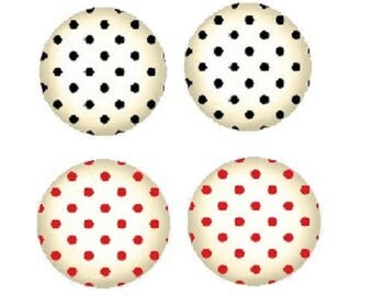 12mm, 2 pairs of cabochons with polka dots