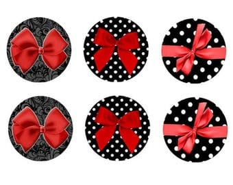 12mm, 6 bow cabochon Red