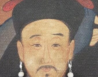 Earrings light blue willow, light wooden bead
