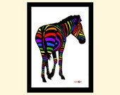 Zebra Art Print, Wall Art, Art Print, Home Living, A4 Prints, Wall Decor, Modern and Contemporary, Animal Art, Pride Art