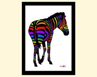 Zebra Art Print, Wall Art, Art Print, Home Living, A4 Prints, Wall Decor, Modern and Contemporary, Animal Art, Pride Art