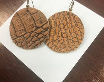 Brown leather crocodile pattern