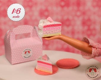 Miniature Pink Rainbow Cake Slices For Barbie or Blythe, Barbie Cake Slices with Box, 1:6 Scale Cakes, Blythe Cakes, Dollhouse Cake Slices