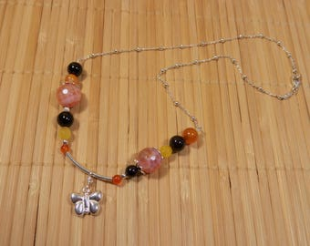 Trendy yellow and orange agate with butterfly and chain necklace 925 sterling silver balls