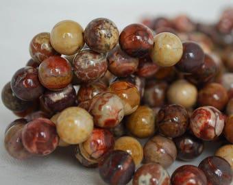 "High Quality Grade A Natural Birdseye Rhyolite Semi-precious Gemstone Round Beads - 4mm, 6mm, 8mm, 10mm sizes - Approx 16"" strand"