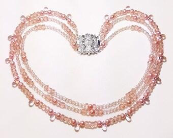 Antique Rose Pink Triple Strand Bridal Wedding Necklace