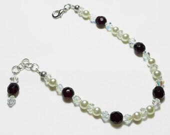 Garnet Ivory Pearl Wedding Bridal Bracelet