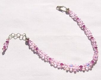 Sparkling Pink Fuchsia Crystal Beaded Ankle Bracelet 8.5