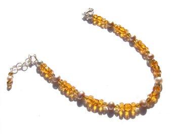 Topaz Pearl Crystal Beaded Ankle Bracelet 8.5