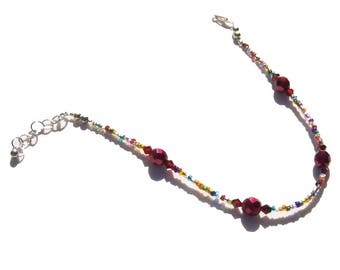 Ruby Red Multi Color Beaded Ankle Bracelet 9