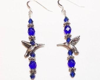 Dark Sapphire Blue Crystal Hummingbird Beaded Earrings