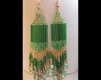 Emerald Topaz Beaded Dangle Earrings