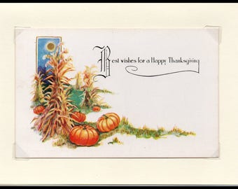 Best Wishes Thanksgiving Vintage Greeting Card