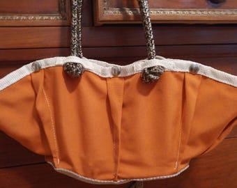 orange, canvas handbag