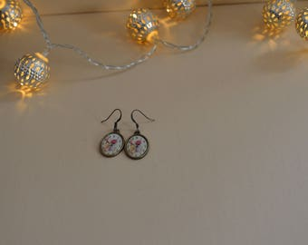 earrings with cabochon clock