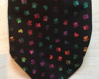 Multi-Colored Doggie Paws print bandana
