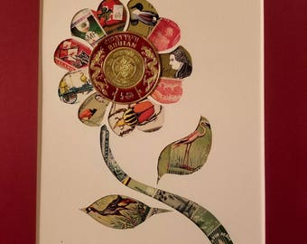 Postage Stamp Collage - large flower (red)
