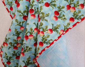 RADISHES, Baby Quilt, handmade, toddler quilt, PERSONALIZE, red Radishes, lightweight, blue quilt, flannel quilt, completely reversible
