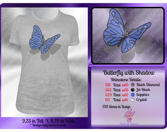 Butterfly with Shadow Rhinestone Digital Download