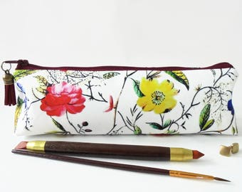Art gifts, Botanical print, pencil pouch, brush bag, cosmetic pouch.