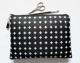 Gifts for her, Wash bag, crosses, monochrome travel bag, cosmetic bag, zip bag, make up bag, large makeup bag.