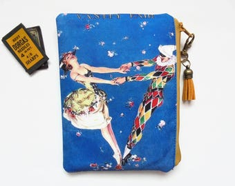 Mum gifts, Vanity Fair, harlequin, sewing pouch, zipper wallet, cometic bag, zipper wallet, small storage bag.