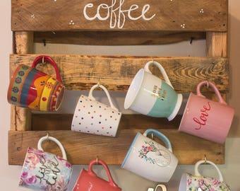 Coffee Mug Holder, Coffee Mug Rack, Coffee Cup Holder, Cup Rack, Rustic Coffee Mug Holder, Rustic Decor, Rustic Kitchen