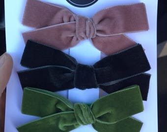 """YOU PICK 3. Medium sized 7/8-1"""" wide hand tied velvet bows for babies, toddlers and little girls on clip or nylon bow"""