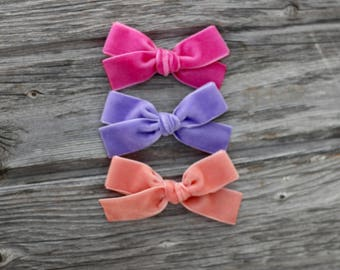"""YOU PICK 3. Medium sized 7/8-1"""" wide hand tied velvet bows for babies, toddlers and little girls on clip or nylon bow • JANIE style"""