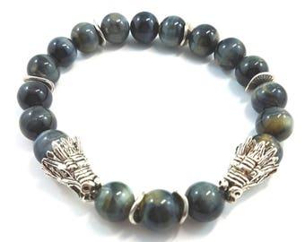 Blue Tiger Eye Bracelet, Dragon Bracelet, Men's Gemstone Stretch Bracelet, Healing Bracelet, Unisex Bracelet, Christmas, Chinese New Year