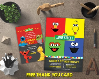 Sesame Street Invitation, Sesame Street Birthday, Sesame Street Invites, Sesame Street Party Printables, FREE 4x6 Thank You Card