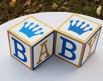 Royal Prince Baby Shower Centerpiece, BABY Blocks ,Glitter  Blocks,  Baby Shower Decorations, Royal Blue and Gold, Baby Gift, Baby, Set of 2