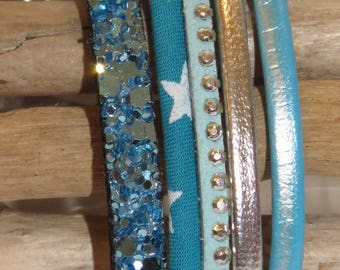 "Leather and suede turquoise and silver ""turquoise Star"" Cuff Bracelet for women - gift idea"