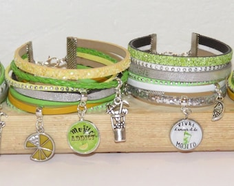 """set of 10 bracelets """"mojito"""" leather glitter leather, suede - Bachelor bachelorette party - choose team colors"""