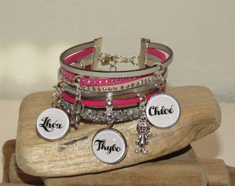 Cuff Bracelet personalized with 3 names of your choice, leather, suede, hot pink, beige, silver color