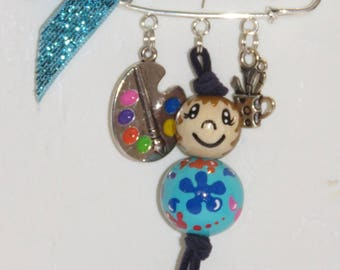"brooch, bag charm, painter, ""smile ball"" character entirely handpainted on wood beads, turquoise"