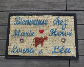 """Welcome to the farm"" personalized doormat, custom rugs, original mat, doormat with names, doormat with cow."