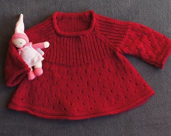 1 year: woolen tunic sweater hand knitted baby soft Burgundy Red