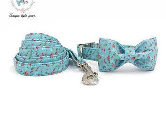 Dainty Rose Floral Flower Print - Dog Collar Bow Tie and Matching Leash Set