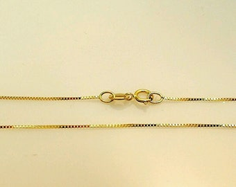 14k Solid Yellow Gold Thin Classic Box Necklace Pendant Chain 18 inch best selling/best price