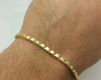 "14k Solid Yellow Gold Heart Link Bracelet Chain 7"" 3.3mm Women"