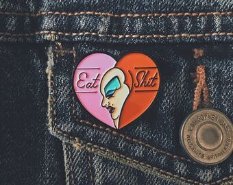 "Limited edition ""Eat Shit"" enamel pin - Divine pink flamingos collectible kitsch trash punk drag heart"