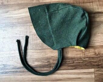Green winter bonnet || Winter bonnet || Baby bonnet || Toddler bonnet || Sun bonnet || Floral bonnet || Brimmed bonnet ||Reversible bonnet