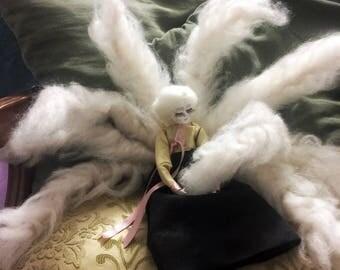 Art caly doll waldorf toy flower fairy doll interior ooak toy fantasy creature magic fairy ooak doll luxury gift