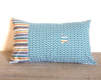 Housse de coussin 30 x 50 cm, taie d'oreiller, patchwork de tissus géométriques, vagues, triangle, étoile, bleu et multicolore, drapeau